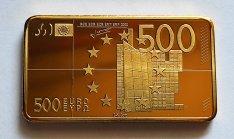 24 karátos arannyal bevont 500 eurós tömb