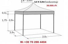 2x2 m AA Pavilon Sátor 30mm Váz + Impregnált PVC ponyva
