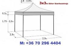 3x3 m Pavilon Árus Garázs Sátor 30mm Váz PVC vízlepergetős ponyva