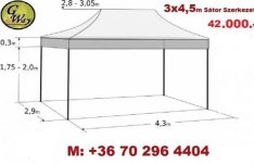 3x4,5 m Pavilon Árus Rendezvény Garázs Sör Piaci Sátor