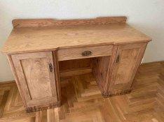 Antik kőris íróasztal restaurálva
