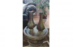 Antik régi különleges tűzzománc vésett jelzett számozott réz váza pár