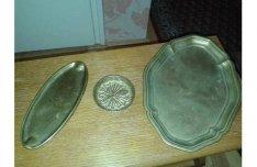 Antik régi tömör réz ovális tálca lepkés tálka és névjegykártya tartó