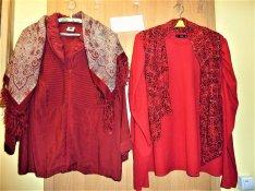 Bordó zipzárras bluz, piros puffos ujjú piros bő újjú és apró min