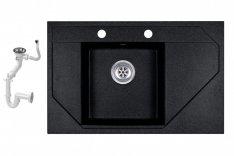 Evinion Orion O765-49C Fekete Gránit Mosogató + Szifon készlet (fe