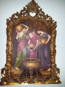 Exkluzív Antik 3 Alakos Életkép Festmény Kép Luxus Barokk Arany Keret