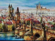 Exkluzív eredeti Prága tájkép festmény, aláírt hangulatos műalkotás