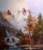 Exkluzív vízesés, hegy, erdő festmény, szign. tájkép, arany keret
