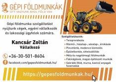 Gépi földmunka, tereprendezés, árokásás, bontás,építőipari gépi munka