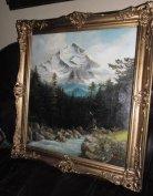 Gyönyörű Antik Tájkép Festmény, Alpesi Táj Olajfestmény, Luxus Keret