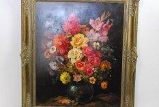 Gyönyörű Antik Virág Csendélet Olajfestmény, Szignált Eredeti Festmény
