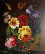 Gyönyörű Eredeti Virág Csendélet Festmény, szignált Ritka Olajfestmény