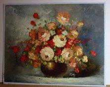 Gyönyörű gazdag virág kompozíció szignált eredeti festmény