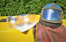 Homokfúvó Homokszóró Szemcseszóró Contractor kámzsa védő sisak