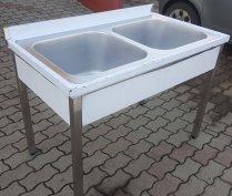 Inox fóliás 2 medencés ipari mosogató 50x50x30cm-es medencékkel