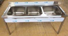Inox fóliás 3 medencés ipari mosogató 50x50x30cm-es medencékkel