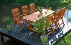 Kerti bútor garnitúra magastámlás székekkel fotó