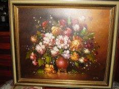 Lenyűgöző virág csendélet szignált egyedi festmény, olajfestmény