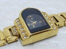 Luxus 23 kt arany női óra, gyémánt jellegű köves ékszer karóra