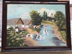 Olajfestmény antik, hangulatos Mosás a patakban