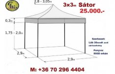 Pavilon Sátor Rendezvénysátor Sörsátor Kerti pavilon Piaci sátor 3x3m