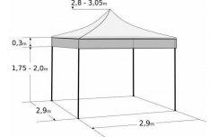Pavilon sátor Árus Rendezvény Piaci Flexibilis Sátor 3,0 x 3,0 EE