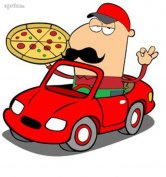 Pizza futár céges autóval
