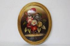Ritka Domború Festmény, Virág Csendélet Exkluzív Olajfestmény