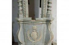 Ritka, díszes, antik, magyar címeres cserépkályha 1867-ből!