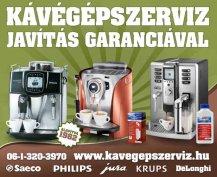 Saeco,Philips, Delonghi, Krups kávégép-szerviz garanciával!
