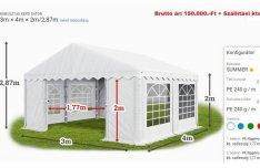 Sátor Pavilon Esküvői Tárolósátor Rendezvény Ipari Raktár Garázs sátor
