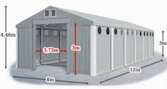 Téli-nyári raktársátor, garázs, tároló sátor 8mx12m/3m