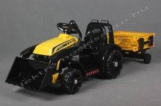 Traktor 6V sárga elektromos kisautó / utánfutó, soft start