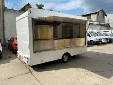 Új Food Truck Büfékocsi utánfutó Inox bútorzattal
