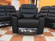 Új Olasz Natuzzi 3-2-1 marha bőr fekete 5 relax ülőgarnitúra