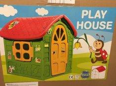 Új kerti gyerek játszóház babaház ablakkal ajtóval zöld vagy pink szín