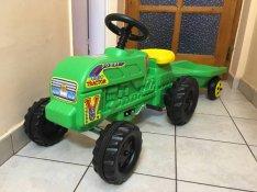Új nagyméretű pedálos gyermek gyerek traktor utánfutóval