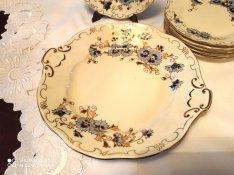 Zsolnay búzavirág mintás süteményes készlet