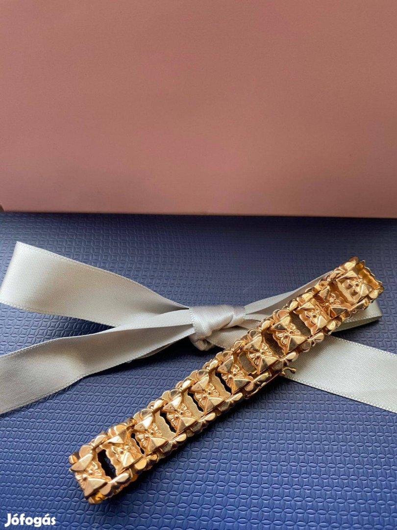 14 karátos arany karkötő, dupla zárral, Magyar fémjellel ellátott