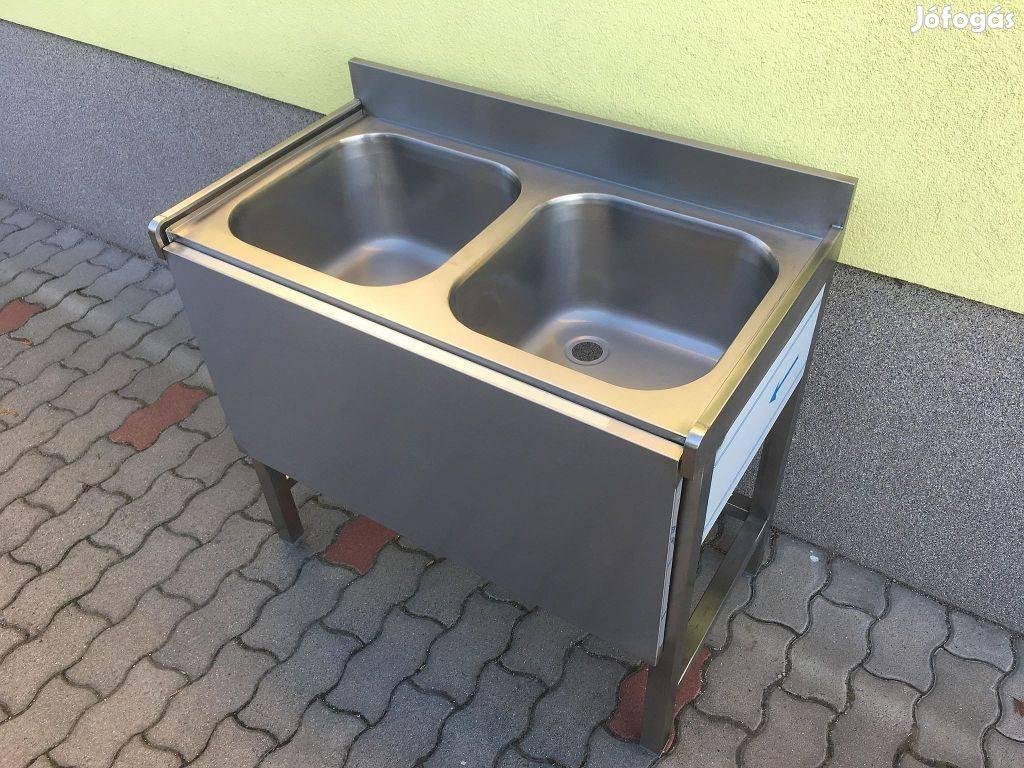 2 medencés ipari rozsdamentes mosogató munkaasztal lehajtható fedlap