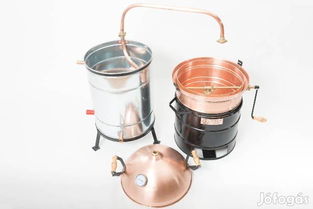 34 Literes, Hobbi, Keverős pálinkafőző kazán tiszta vörösrézből