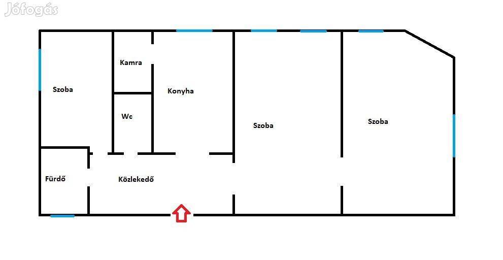 3 szobás 61m2-es tégla lakás