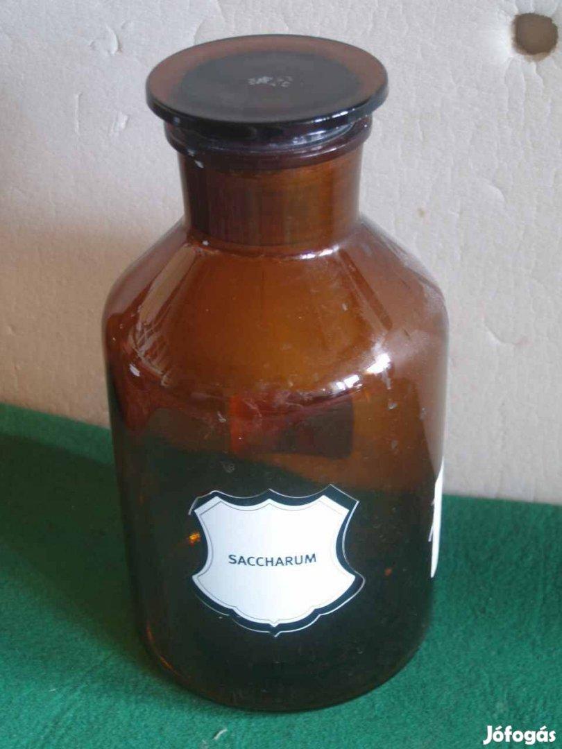 4 db antik ritka gyógyszerész gyógyszerészeti vegyszeres üveg hatalmas