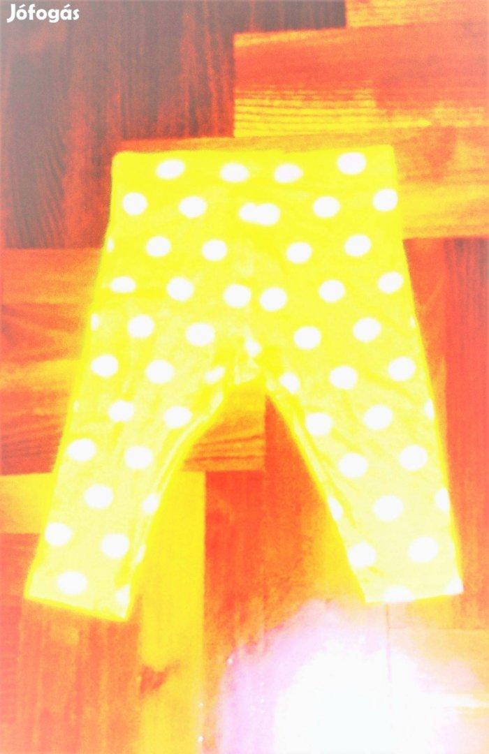 80 Cuki sárga nagy fehér pöttyös vékony leggings, naci, nadrág, felső