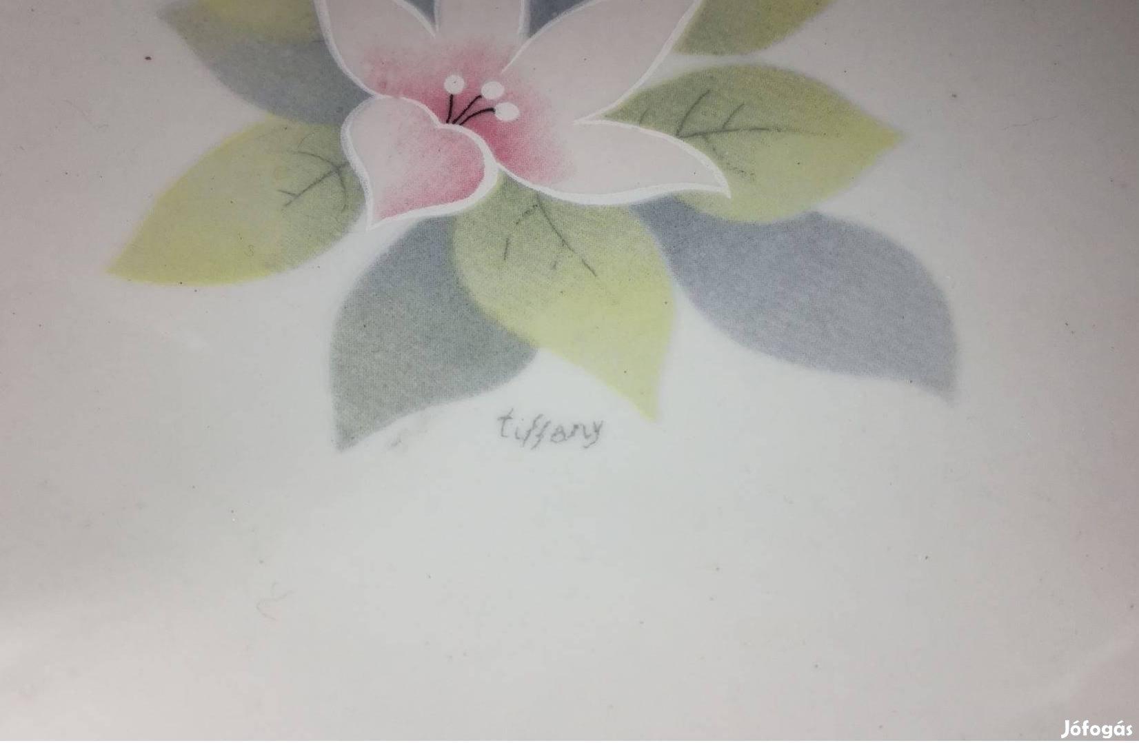 Antik Tiffany Tiffani nagyméretű szép állapotú jelzett porcelán tál