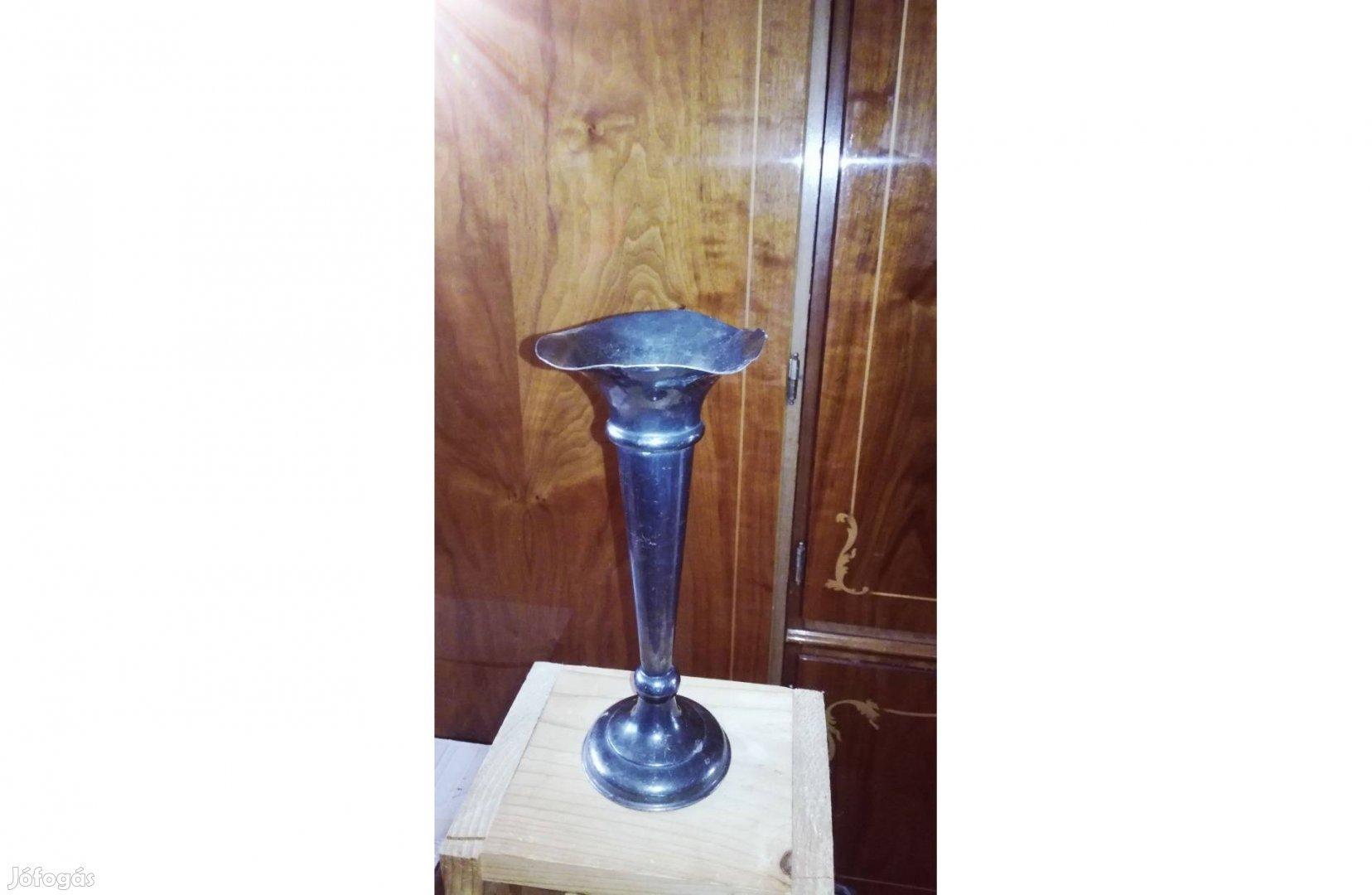 Antik egyedi art deco ezüstözött martinoid trombita váza szép állapot