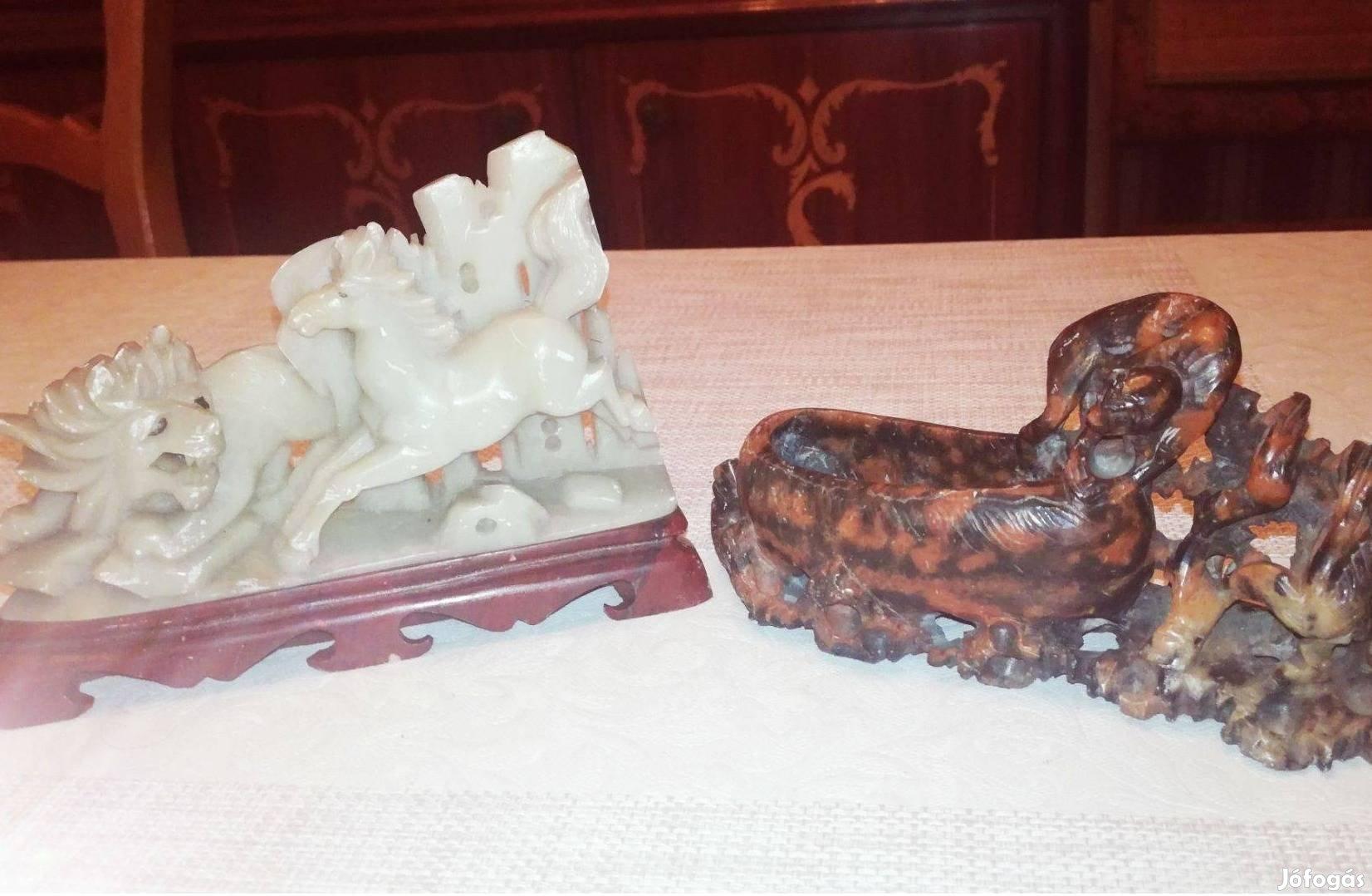 Antik régi nagyméretű állatfigurás faragott zsírkő szobor dísztárgyak