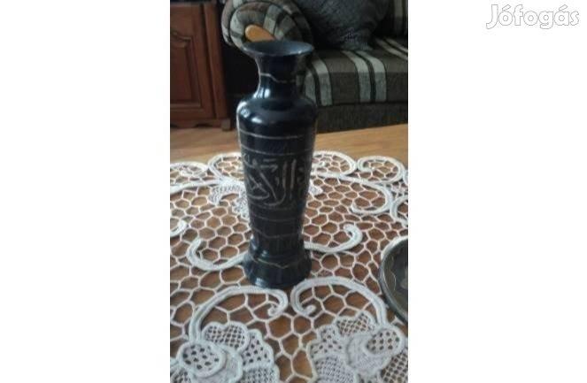 Antik zománcozott réz tűzzománc vésett tál váza gyertyatartó kancsó