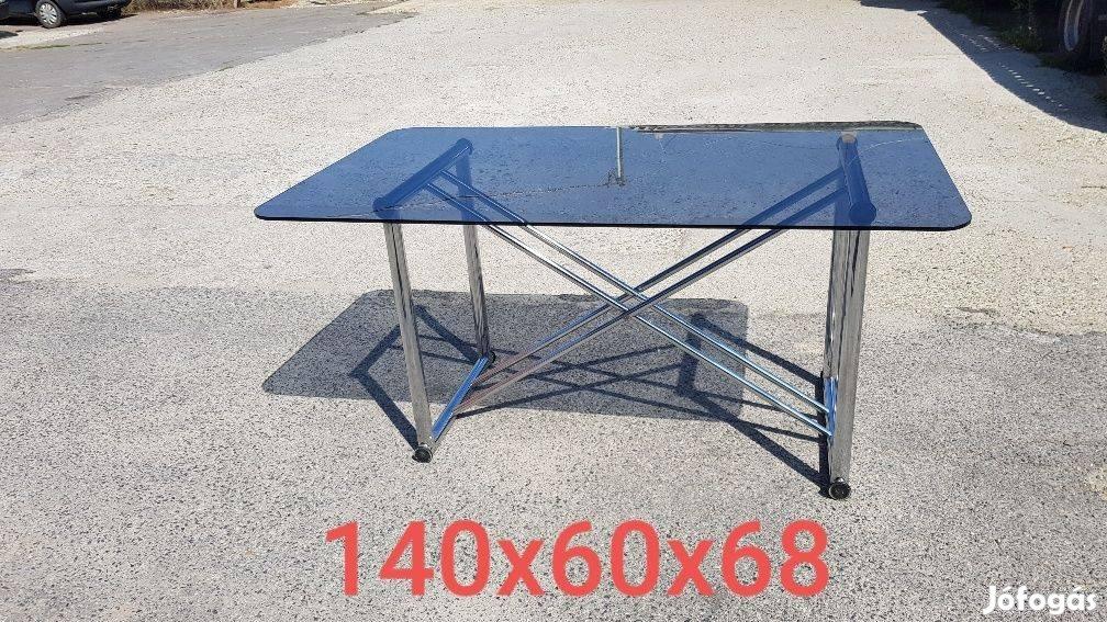 Dohányzóasztal,étkezőasztal - edzett üveg,króm asztallábak