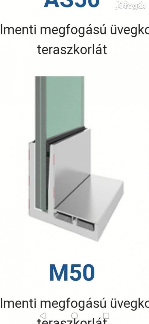 Eladó üveg korlát (zöld üveg, kézfogó, alumínium profil) raktárról